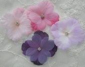 36 pc rhinestone beaded flower applique purple lavender pink baby Hydrangea petals