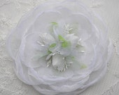 Antique White Organza Rose Flower Pageant Hair Accessory Bow Alligator Clip
