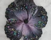 4 inch Handmade Velvet beaded w sequins and glass beads Grey Black Poppy Beaded Flower Corsage