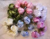 36p Pink Green Blue Lavender Cream White wired Satin Organza Rose Flower Applique Bridal Wedding Bouquet