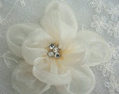 Fabric Beaded Flower Applique Rhinestone Cream Organza Rose Bridal Pageant Hat Corsage
