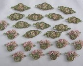 12 pc ombre grosgrain green ribbon stone beaded flower scrapbook baby doll bow