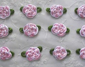 12 pc Satin Cord Rattail Ribbon Flower Applique pink white scrapbook baby doll bow button