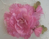 Rosy Mauve Pink Organza Peony Rose Flower Applique w rose bud Corsage Pin Brooch Hat Hair Accessory Bow Headband