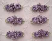 6pc Antique Plum Ribbon Rosette Spider Rose Flower w Stone Applique Dog Hair Bow