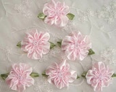 6pc Glass Beaded Cameo Pink Satin Fabric Fabric Flower Applique Baby Doll Christening Bridal Corsage