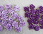 36pc Lavender Purple Satin Ribbon Fabric Flower Applique Shabby Chic Baby Doll Carnation Cabbage Rose Bow