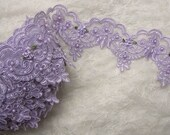 Lavender Pearl Sequin Beaded Flower Lace Trim Embellished Embroidered Organza Pageant Doll Bridal