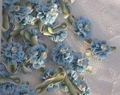 12 pc ombre grosgrain BLUE ribbon rhinestone beaded flower scrapbook baby doll bow