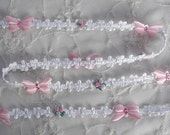 Pink Rose Bud Flower White Woven Ribbon Trim w Rhinestone Satin Butterfly Bow Scrapbook Baby Quilt
