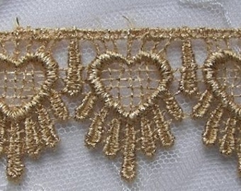 Vintage Chic delicate Antique Metallic Heart Gold Lace christmas holiday curtain costume