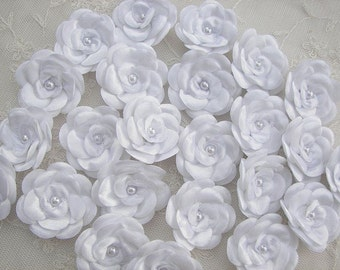 12pc Christening Baby Doll White Satin Ribbon Rose Flowers w Pearl for Bridal Hair Accessory Bow