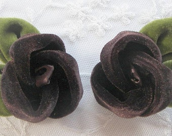 Velvet Fabric Rose Flower 2 pc Chocolate Brown Baby Bow w Leaves Bridal Couture Corsage