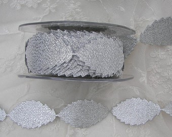 Silver Sparkle leaf trim on a vine ribbon trim great for scrapbooking Christmas Holiday