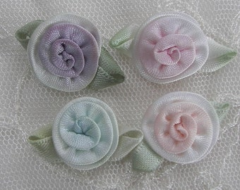 12pc satin ribbon rose flowers w green leaves scrapbooking baby doll
