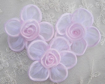 12pc Shabby Chic Baby Doll pink organza ribbon rose flowers bridal bow button