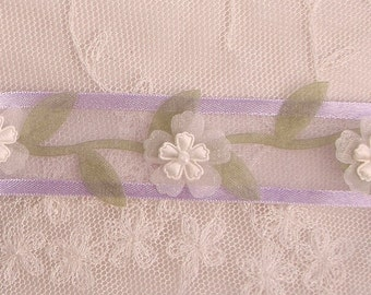 Lavender Organza Satin Candy Stripe Ribbon Flowers on a Vine of leaves Doll Quilt Christening Bridal Baby Doll Pageant Scrapbook