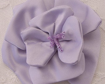 3 inch Glass Beaded Baby LILAC Matte Satin Rose Flower Bridal Hat Corsage
