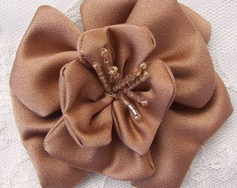 3 inch Glass Beaded Toffee Matte Satin Rose Flower Bridal Hat Corsage