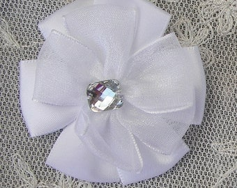 2pc Beaded w Stone White Satin Organza Ribbon Flower Applique Baby Doll Bridal Corsage Bow