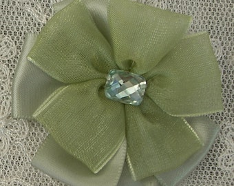2pc Beaded w Stone Moss Green Satin Organza Ribbon Flower Applique Baby Doll Bridal Corsage Bow
