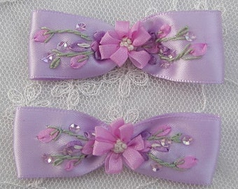 2pc Beaded Satin Fabric Flower Bow Applique w Sequins Orchid Ribbon Embroidered w Rose Bud Baby Doll Corsage