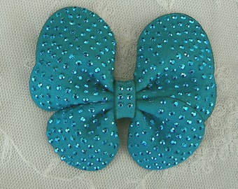 Beaded Bow Applique 3.5 inch Turquoise Teal Suede Leather Embellished w Stones Butterfly Hair