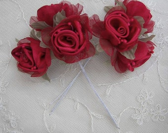18 pc RED Rose Fabric Flower Applique Satin Organza Wired Ribbon Christmas Doll Bridal Wedding Bow Hair Accessory