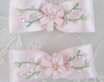 2pc Hand Embroidered Cameo Pink Satin Ribbon Beaded Flower Bow Applique w Sequins