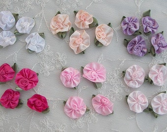 24pc satin ribbon rose flowers w green leaves scrapbooking quilt baby doll