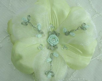 Beaded Fabric Ribbon Flower Applique w Sequins Embroidered w Rose Buds Satin Organza Chartreuse Green Corsage Pin Hair Accessory Baby Bow