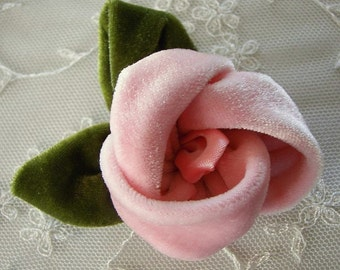 2 pc Pink Velvet Rose Flower Baby Bow w leaves leaf for bridal couture corsage headband home decor