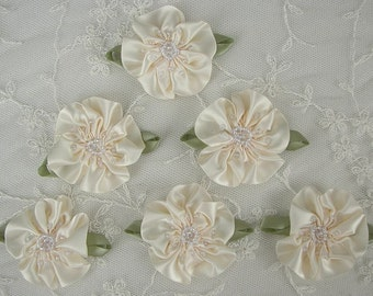 6pc Glass Beaded Ivory Satin Fabric Fabric Flower Applique Baby Doll Christening Bridal Corsage