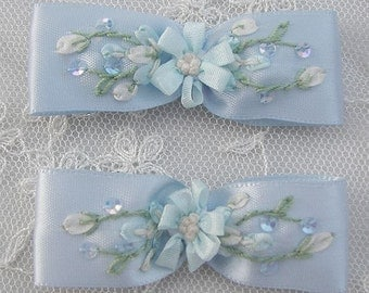 2pc Beaded Satin Fabric Flower Bow Applique w Sequins Blue Ribbon Embroidered w Rose Bud Baby Doll Corsage