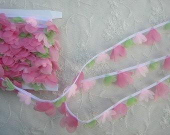 Organza Pink Tulip Flower Ribbon Trim Scrapbook Doll Quilt