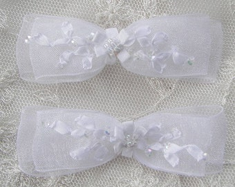 2pc Beaded Organza Fabric Flower Bow Applique w Sequins White Bridal Christening Ribbon Embroidered w Rose Bud Baby Doll Corsage