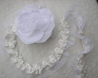 Ivory Cream Satin Organza Ruffle Ribbon Trim Embellished W Rose Embroidered Lace