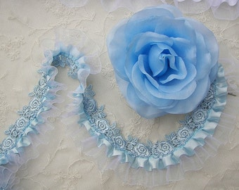 Blue Satin Organza Ruffle Ribbon Trim Embellished W Rose Embroidered Lace