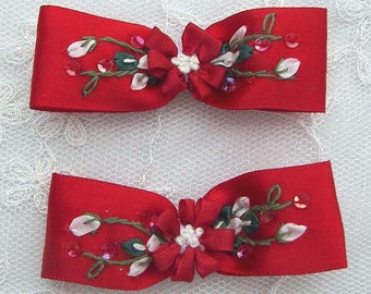 2pc Beaded w Sequins Silk Red Satin Ribbon Embroidered w Rose Bud Flower Baby Doll Bow