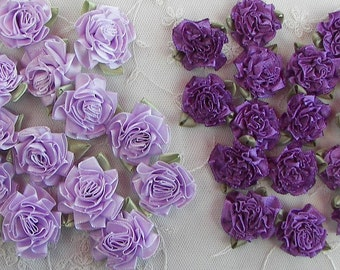 18 pc Purple Lavender Rose Satin Ribbon Fabric Flower Applique Baby Doll Carnation Cabbage Rose Wedding Bow