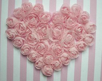 Hand Dyed Pink Floral Heart Applique Handmade Ribbon Rose Bud Flower Valentine yoke