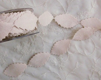 Faux Suede Tan leaf trim on a vine ribbon trim great for scrapbooking quilts baby clothing