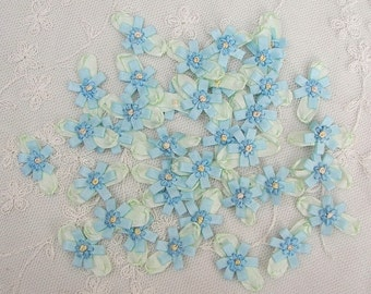 36 pc Blue Handmade Baby Doll French Knot Ribbon Bow Flower Applique