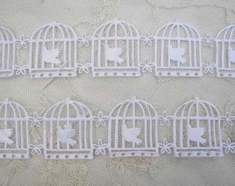 3 yds White Flower Dove Birdcage Ribbon Trim on a Vine Scrapbooking Card Making Bridal
