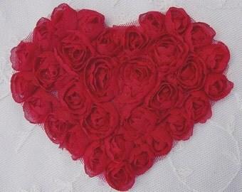 VALENTINE Red Ribbon Rose Bud Ribbon Flower Floral Heart Applique