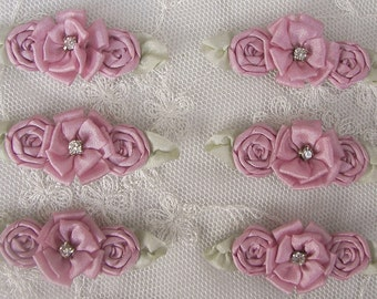 6 pc Rose Mauve Ribbon Rose Flower Applique w Rhinestone Baby Dog Christening Bridal Bow Applique