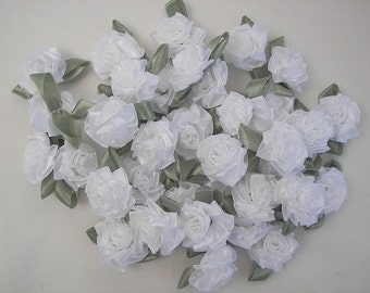 12 pc WHITE Rose Satin Ribbon Fabric Flower Applique Baby Doll Carnation Cabbage Rose Wedding Bow