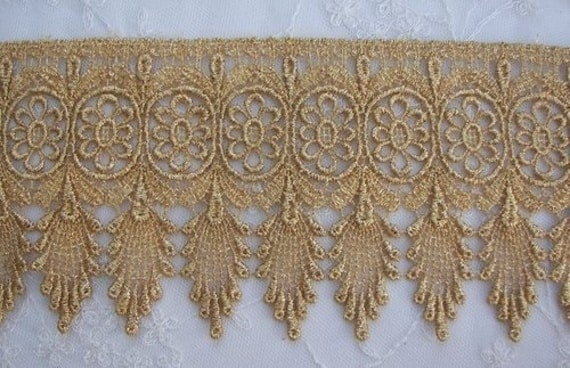 Vintage Chic Antique Metallic Gold Lace Holiday Curtain Belly Dancer Costume