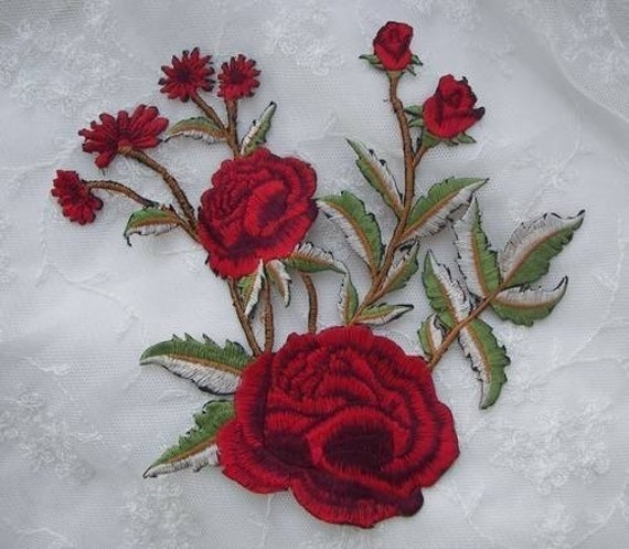 Red hat society rose embroidered flower by delightfuldesigner
