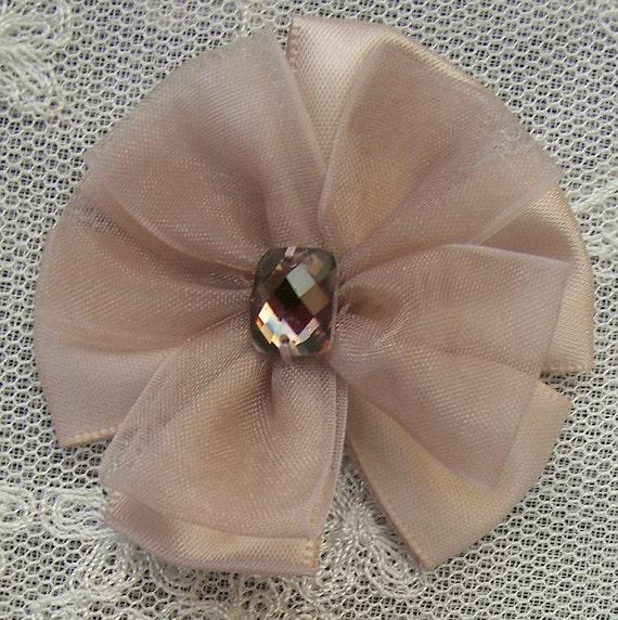 2pc Beaded w Stone Tan Satin Organza Ribbon Flower Applique Baby bonnet Doll Corsage Bow